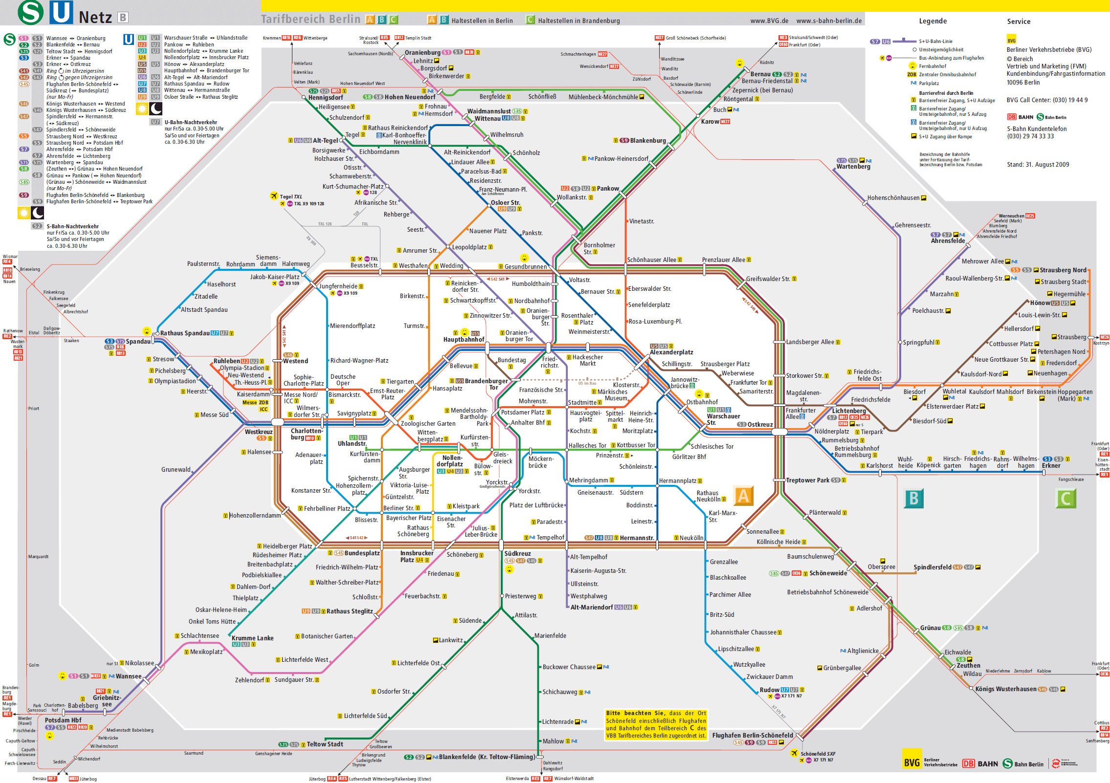 Berlin Metro U Bahn Lines schedule and fares