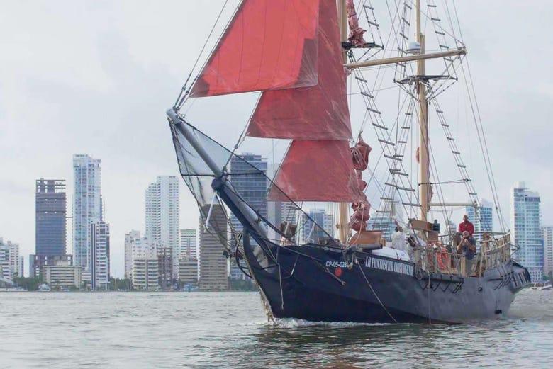 Tour de la baie de Carthagène en bateau pirate