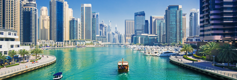 Passeio de barco por Dubai Marina + Burj Khalifa com jantar