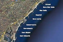 Mapa de las playas de Barcelona