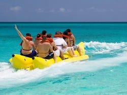 Enjoying the banana boat ride in Miami