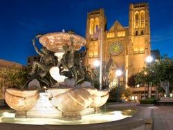 San Francisco's Grace Cathedral illuminated at night