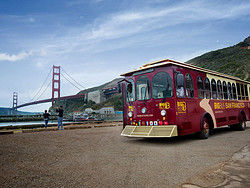 Trolley bus tour of Sausalito