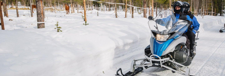 Conducción de trineos de perros husky y motos de nieve