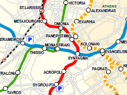 Mapa do metrô de Atenas