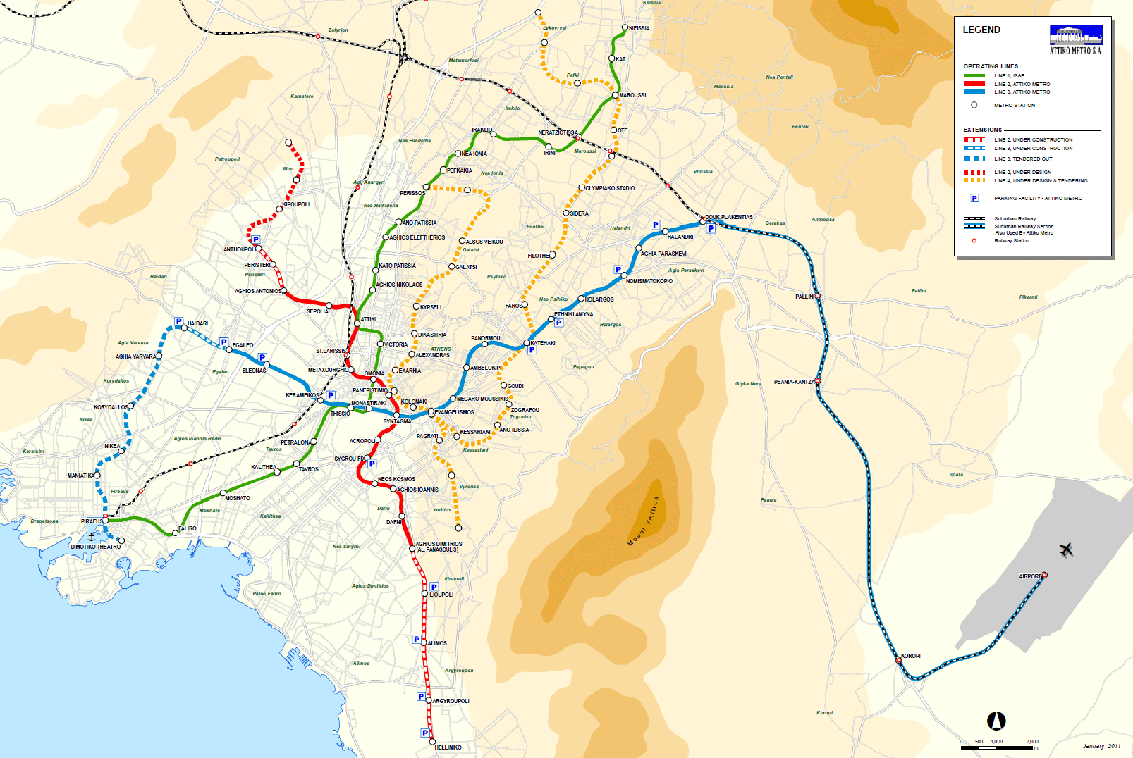 La Subway Map Year Opened.Athens Metro Lines Map Fares And Timetable