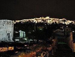 Agora Romana, vista de la Acropolis