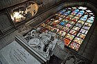 Brussels Cathedral, tomb and stained glass