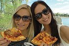 Enjoying a pizza on the Danube river