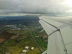 Llegando a Dublín en avión