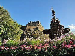 Edinburgh, views of the Castle from Princes Street Gardens