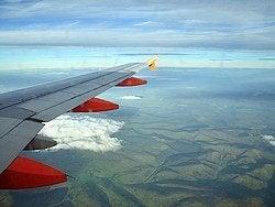 Llegando a Edimburgo en avión
