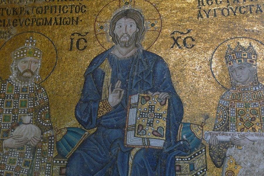 Baño Turco Kadirga Hamami Estambul:Constantino y Zoe adorando a Cristo en Santa Sofia