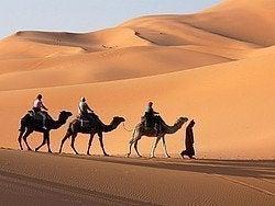 De camino al campamento entre las dunas