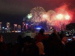 Fuegos artificiales para celebrar el Año Nuevo Chino