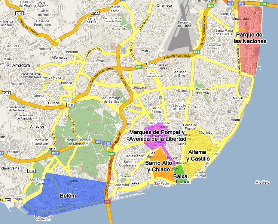 Lisbon Neighborhoods Best Districts To Visit In Lisbon - lisbon map