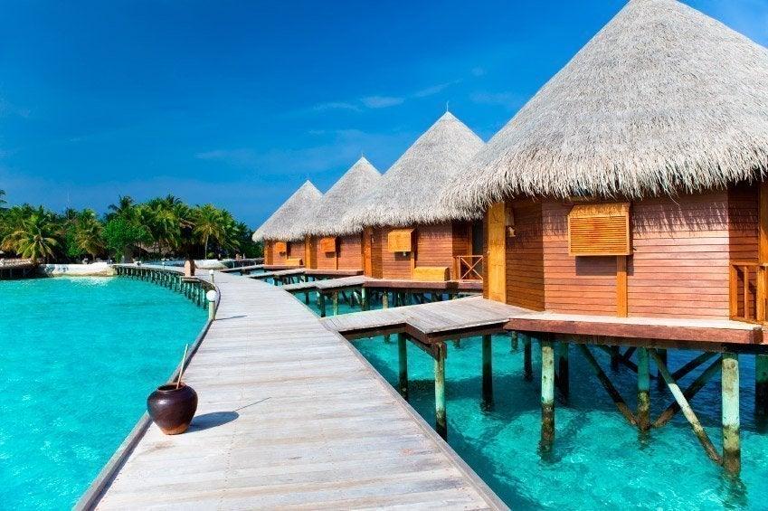 Palafitos en las islas Maldivas