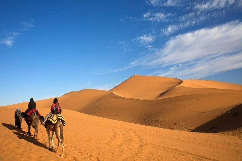 Camellos atravesando el desierto de Merzouga