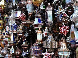 Shopping in Marrakech, lamps