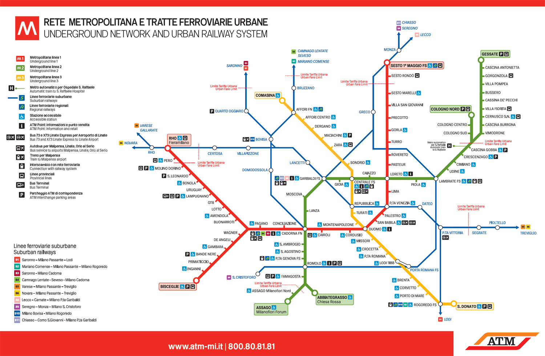 Milan Metro Lines schedules and prices of the Milan Metro