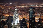 Chrysler Building lit up at night