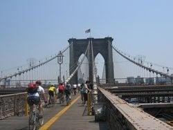 Crossing Brooklyn Bridge on bicycle