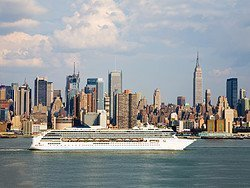 Cruise ship going past Manhattan