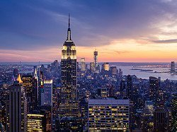 View of New York City at dusk