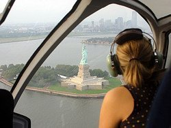 Flying over the Statue of Liberty