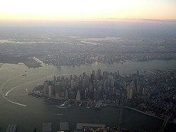 Arriving by plane to New York City