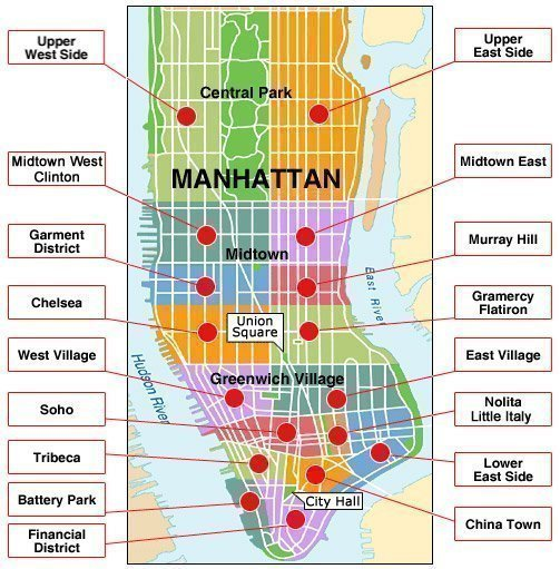 Mapa de los barrios de Manhattan