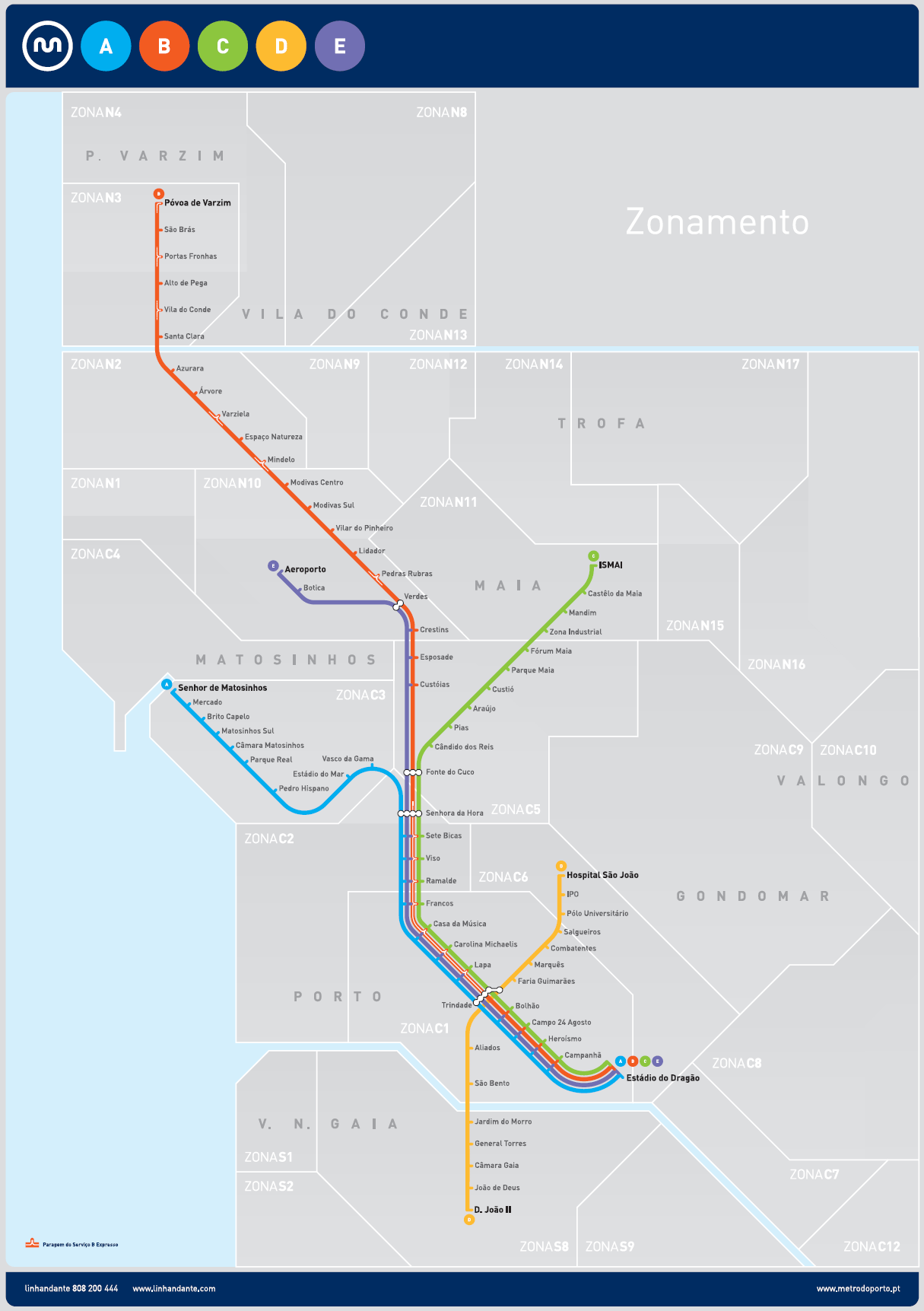 mapa andante Porto Metro   Lines, map, operating hours and tickets mapa andante