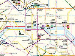 Mappa delle linee d'autobusdi Parigi