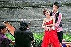 Haciéndose las fotos de boda