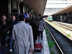 Llegando a Termini en el Leonardo Express