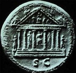 Moneda con la imagen del Templo de Júpiter