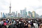 Shanghái en día festivo, abarrotada