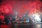 Disfrutando de los fuegos artificiales en Shanghái