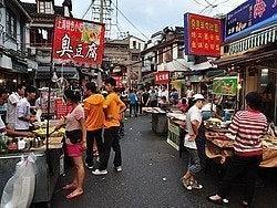 Puestos de comida junto al Jardín Yuyuan