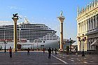 Cruise ship in Venice, next to Piazza San Marco