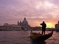 Grand Canal, gondola at dusk