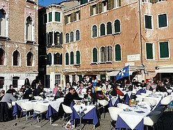 Terrace in the sun in Venice