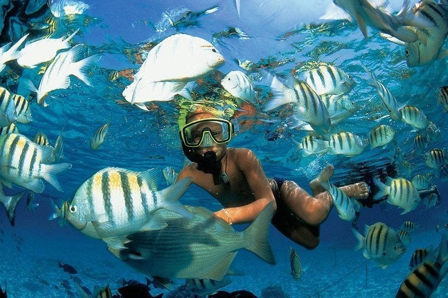 Practicando snorkel en Xel-Há