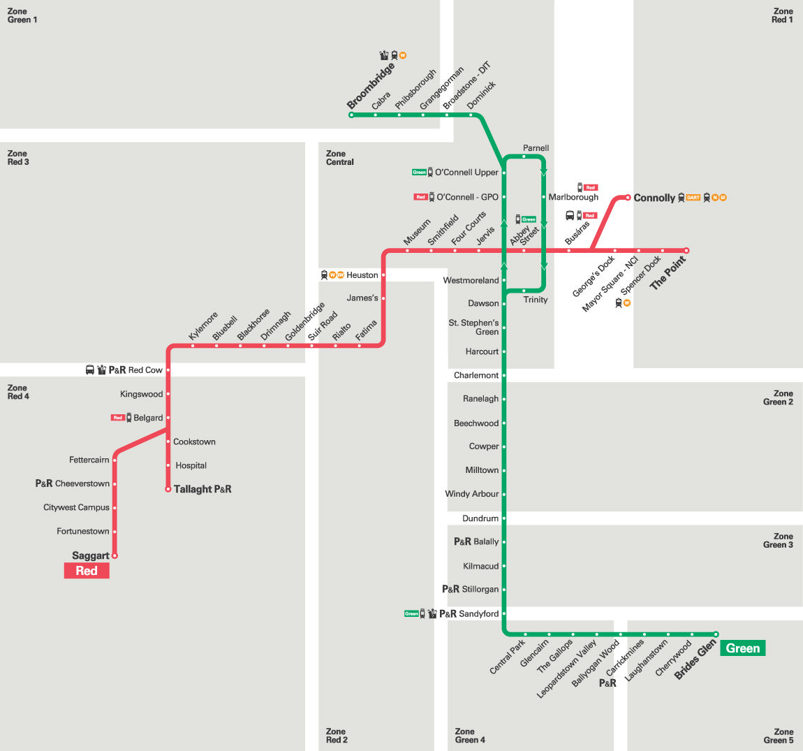 Train Travel In Ireland Map.Luas Dublin S Light Rail Tram Routes Map Schedule