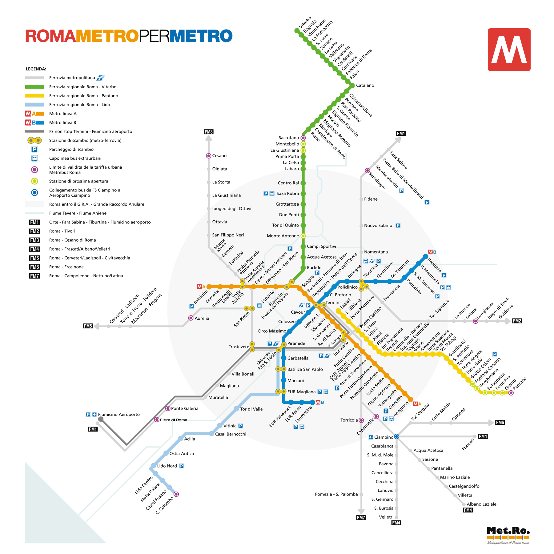 Rome Metro Lines hours fares and Rome metro maps