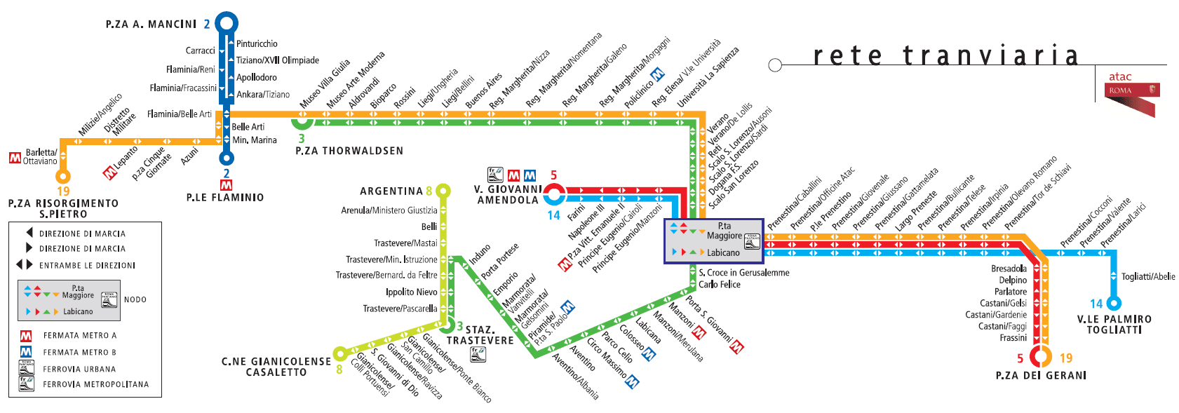 Amendola Italy Map.Rome Trams Lines Hours Fares And Map Of The Tram Network In Rome