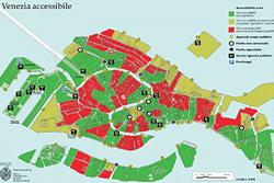 Mapa de acessibilidade em Veneza