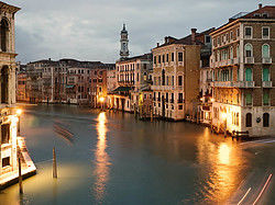 Venice's Grand Canal at night