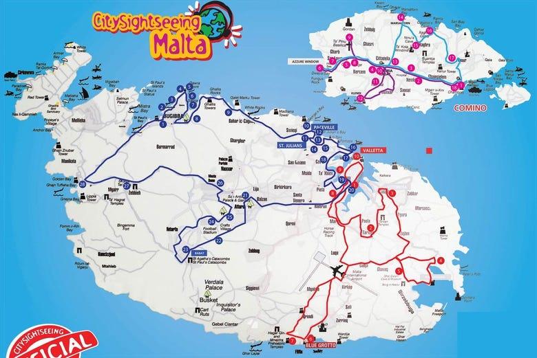 mapa turistico malta Autobús turístico de Malta   Reserva online en Civitatis.com mapa turistico malta