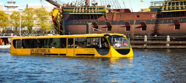 Visite d'Amsterdam en bus amphibie